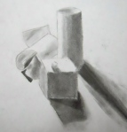 Paper sculptures and charcoal drawing