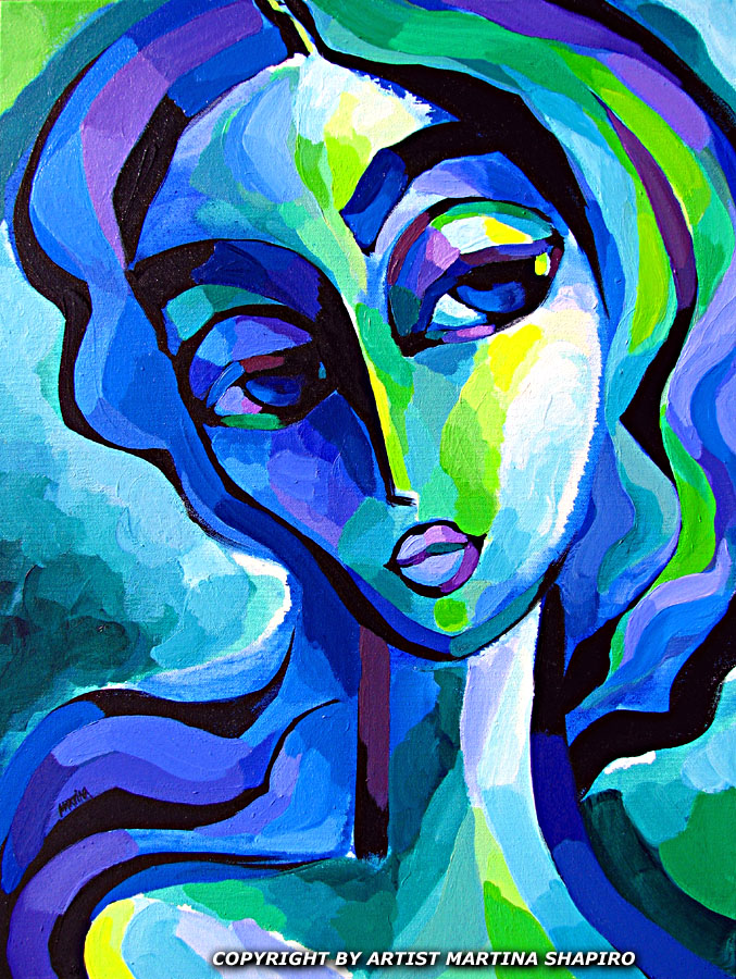 Blue Figure Modern Painting